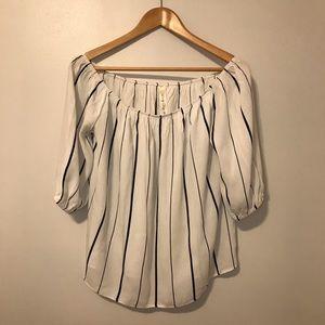Boho style black & white stripes blouse